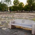 Benches surround the reservoir.- San Luis Creek Campground