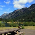 Picnic areas with views at Gold Creek Pond.- Gold Creek Pond Loop