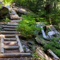 Stairs leading up to Lake Dorothy.- Bear + Deer Lakes