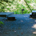 Typical campsite at Money Creek Campground.- Money Creek Campground