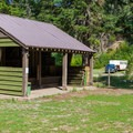 Horse tack shelter.- Cayuse Horse Campground