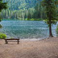 Bench at the lake.- Owhi Campground