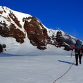 Crossing the Haden Glacier with Middle Sister in background.- Middle Sister: Hayden Glacier + North Ridge