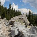 Crossing talus slopes.- Josephine Lake