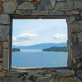 The view from the Tea Room on top of Fannette Island in Emerald Bay.- Lake Tahoe, Rubicon Point to Pope Beach
