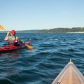 Kayakers head back toward Golden Gardens Park and the take-out.- Golden Gardens to West Point Lighthouse Sea Kayaking