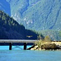 A seaplane takes off from Diablo Lake.- Colonial Creek Campground