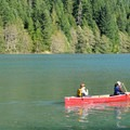 A canoe on Diablo Lake.- Colonial Creek Campground
