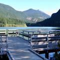 Fishing pier on Diablo Lake.- Colonial Creek Campground