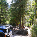 Typical campsite at Johnny Creek Campground.- Upper + Lower Johnny Creek Campground