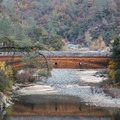 Historic Bridgeport Covered Bridge from the Point Defiance Loop Trail.- South Yuba River State Park