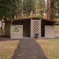 The restroom facility at the Ukiah-Dale Forest State Park Campground.- Ukiah-Dale Forest State Park Campground