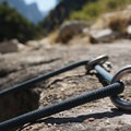 Anchor for the third rappel. - Tenaya Canyon Descent
