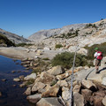 Crossing Tenaya Creek en route to Lone Boulder.- Tenaya Canyon Descent
