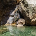 Crystal clear pool below Leconte Boulder.- Tenaya Canyon Descent