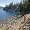Whenever the trail comes close to the shore, it becomes rockier and more technical- Waldo Lake Trail