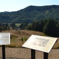 Interpretive signs at the overlook in Fort Hoskins Historic Park.- Fort Hoskins Historic Park