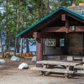 Picnic shelter and horseshoes.- Lake Wenatchee State Park South Campground