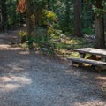 Picnic area at the trailhead.- Hidden Lake