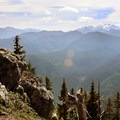 View to the southeast of Mount Daniels (left, 7,980') and Mount Hinman (right, 7,500') from the top of Beckler Peak.- Beckler Peak Trail