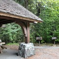 Shelter and picnic area off of parking lot.- Deception Falls National Recreation Area