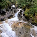View from the platform under the highway.- Deception Falls National Recreation Area