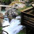 Visitors can view where the water takes a 90-degree turn.- Deception Falls National Recreation Area