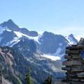 Wild Goose Trail marker beneath Mount Shuksan (9,131').- Chain Lakes Loop Trail