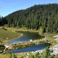 Mazama Lake features four backcountry campsites.- Chain Lakes Loop Trail
