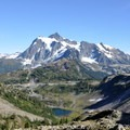 Mount Shuksan (9,131') over Bagley Lakes from Herman Saddle.- Chain Lakes Loop Trail