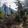 Hazy views of Mount Thielsen (9,182') from the trail.- Mount Thielsen