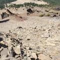 Looking back down the Class III scramble.- Mount Thielsen