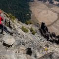 Looking down the Class IV scramble to the ledge.- Mount Thielsen
