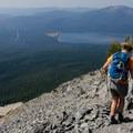Descending is a little precarious on the unstable rock.- Mount Thielsen
