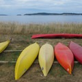 Kayaks available for rent at North Beach on Orcas Island.- Orcas Island: North Beach