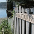 Entrance to Obstruction Pass Beach.- Orcas Island: Obstruction Pass Beach