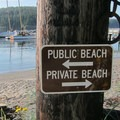 Public/private separation at Obstruction Pass Beach.- Orcas Island, Obstruction Pass Beach