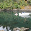 Clear waters in a bay at Matia Island.- Matia Island State Park