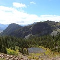 View from the trail to Red Pond.- Commonwealth Basin Trail to Red Pass