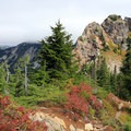 Views of Red Mountain and Lundin Peak from ridge above the Commonwealth Basin.- Commonwealth Basin Trail to Red Pass