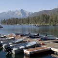 The dock at Redfish Lake, where you can arrange a shuttle across the lake.- Alpine Lake + Baron Divide