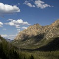 Classic U-shaped valley. Looking down the Redfish Lake Creek Canyon.- Alpine Lake + Baron Divide