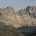 Granite Peak at the headwaters of Redfiish Lake Creek Canyon.- Alpine Lake + Baron Divide