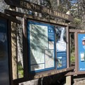 Information signs at the trailhead.- Alpine Lake + Baron Divide