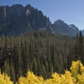 Fall colors and the Grand Mogul (9,733') from the Redfish Canyon trail.- Alpine Lake + Baron Divide
