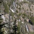 A runoff engorged waterfall above Marshall Lake.- Alpine Way Trail, Fishhook Creek to Iron Creek
