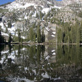 Marshall Lake reflection.- Alpine Way Trail, Fishhook Creek to Iron Creek