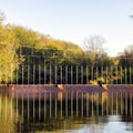 An electrified fence over the river. The hatchery is just off to the right.- Sooes River Kayak/Canoe