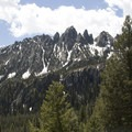 Looking back at the Alpine Lake spires from the Alpine Way Trail.- Alpine Way Trail, Iron Creek to Stanley Lake
