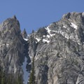 Granite faces on the east face of Mystery Mountain.- Alpine Way Trail, Iron Creek to Stanley Lake